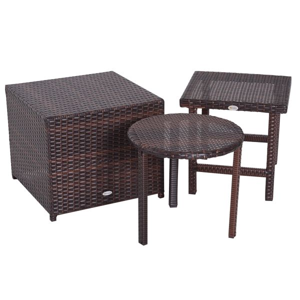 Outsunny 3 Piece Rattan Wicker Outdoor Compact Stackable Patio Furniture Set|AOSOM.COM
