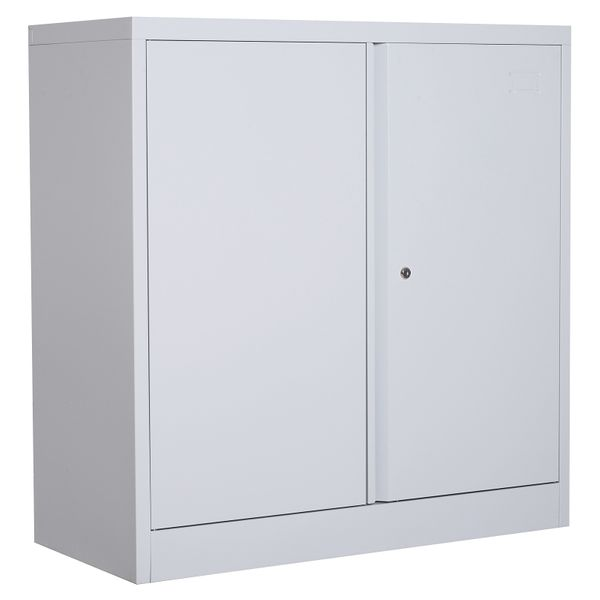 "HOMCOM 36"" Metal Adjustable Storage Cabinet with Double Doors and Lock - Grey