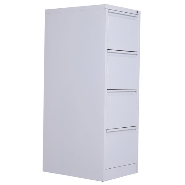 Vinsetto Metal 4 Drawer Vertical Locking Filing Cabinet -White|AOSOM.COM