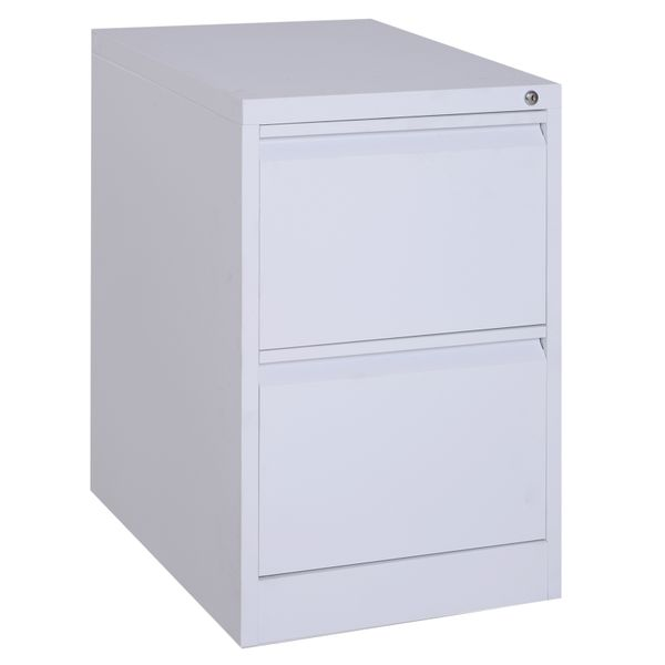 """Vinsetto 28"""" Steel Metal 2 Drawer Home Office Under Desk Filing Cabinet with Lock - White 