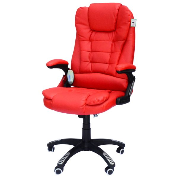 HomCom Heated Vibrating Massage Office Chair Red