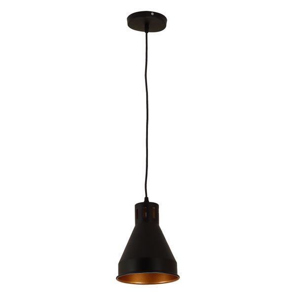HomCom Industrial Covered Rustic Ceiling Light Fixture Metal Hanging Pendant - Black / Gold  | Aosom
