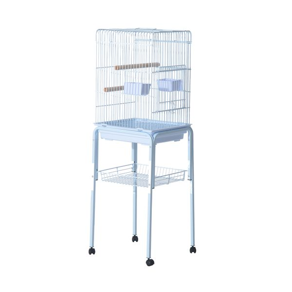 """Pawhut 51"""" Bird Cage - White / 47"""" 51"""" Large Parrot Play Cockatiel House bird cage with rolling stand 