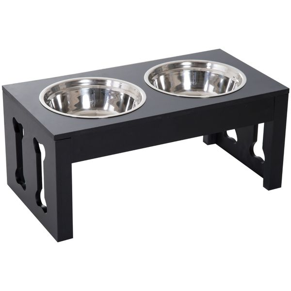 "PawHut 23"" Modern Dog Bone Wooden Heavy Duty Pet Food Bowl Elevated Feeding Station