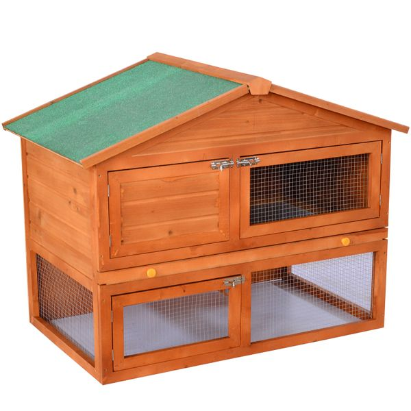 "PawHut 48"" Fir Folding Rabbit Cage Hutch Outdoor Pet Animals House White New 