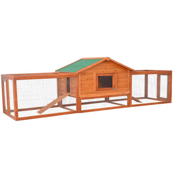 "Pawhut 122"" Wooden Rabbit Hutch with Run Large Chicken Coop House Habitat with 2 Ramp Runs 