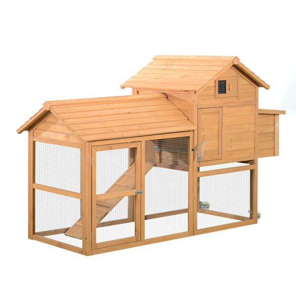 """Pawhut Chicken Coop Hen House w Run and Wheels 83"""" Wooden Portable Backyard With Fenced Deluxe Wood chicken coop with run