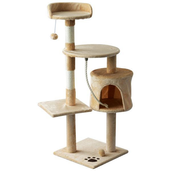 Pawhut 45 Tall Cat Condo Tower Scratching Post Activity Tree House Furniture Aosom