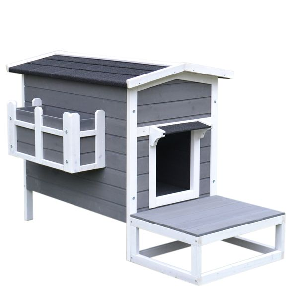 PawHut Wooden Large Deluxe Elevated Indoor Outdoor Cat House with Porch and Balcony - Dark Grey/White|AOSOM.COM