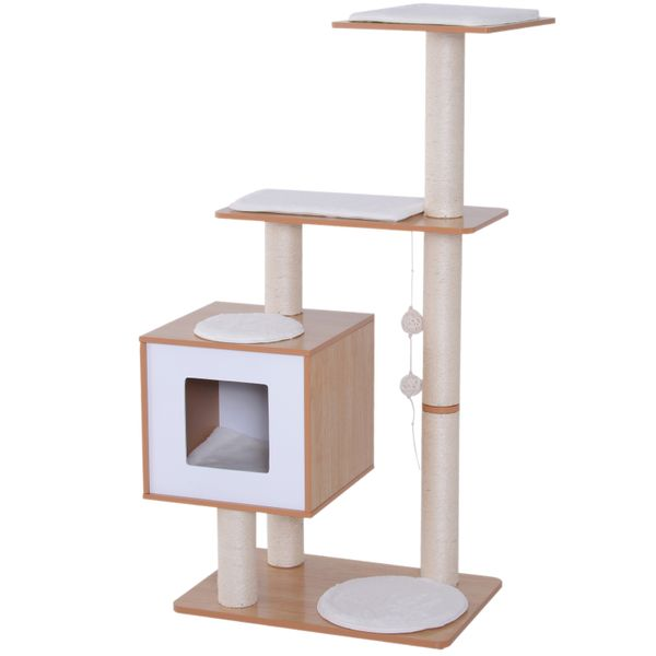 "PawHut 47"" Modern Cat Tree Multi-Level Scratching Post With Cube Cave Enclosure - Oak Wood and White