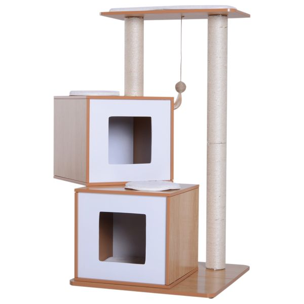 """PawHut 40"""" Modern Cat Tree Multi-Level Scratching Post With 2 Cube Cave Enclosures - Oak Wood and White