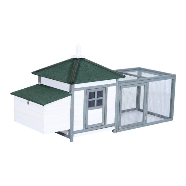 """PawHut 77"""" Wooden Backyard Chicken Coop Kit With Nesting Box And Run - White Grey 77'' Large Hen Cage chicken coop with run