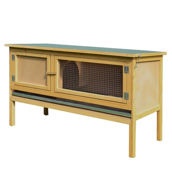 PawHut Large Elevated Indoor Outdoor Wooden Rabbit Hutch w/ Hinged Asphalt Roof|AOSOM.COM