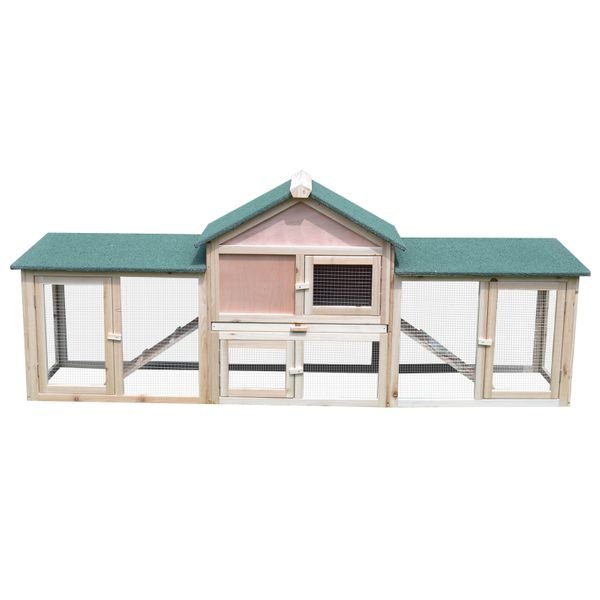 "PawHut 83"" Wood 2 Story Outdoor Deluxe XL Rabbit Hutch Small Animal Habitat Bunny House 