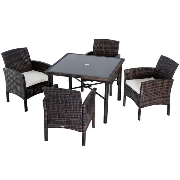 Outsunny 5 Piece Outdoor Patio Rattan Wicker Table And Chair Set / Rattan outdoor dining set | Aosom