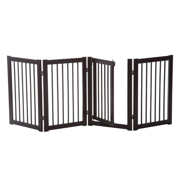 """PawHut 31"""" x 81"""" Wooden Freestanding 4 Panel Safety Expandable Pet Gate With Door / freestanding expandable pet gate 