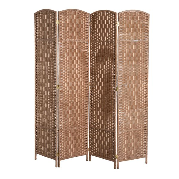 HomCom 6' Tall Wicker Weave Four Panel Room Divider Privacy Screen - Natural Blond Wood   Aosom