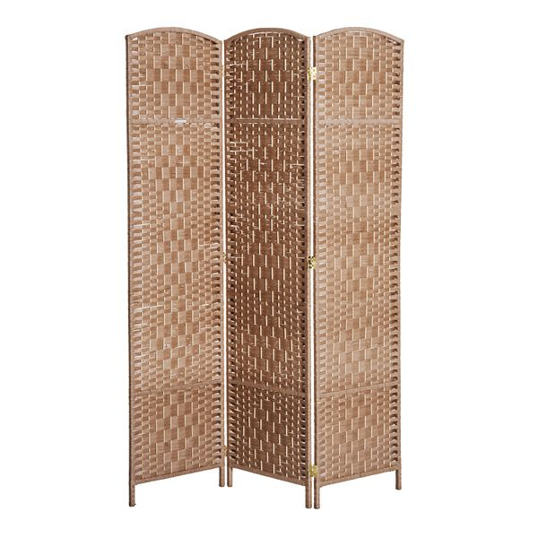 "HomCom 6"" Tall Wicker Weave Three Panel Room Divider Privacy Screen - Natural Blond Wood / 3 panel room divider screen 