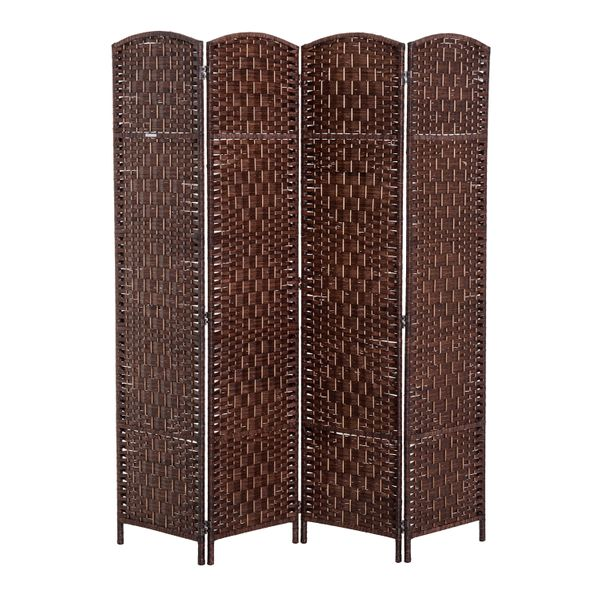 HomCom 6' Tall Wicker Weave Four Panel Room Divider Privacy Screen - Chestnut Brown / wicker weave four panel room divider | Aosom