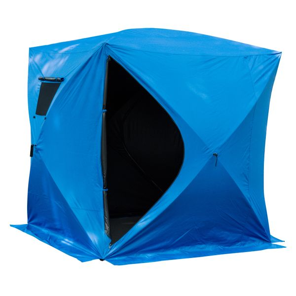 Outsunny 2-4 Man Outdoor Pop up Portable Ice Fishing Shelter Tent House w/2 Doors | Aosom