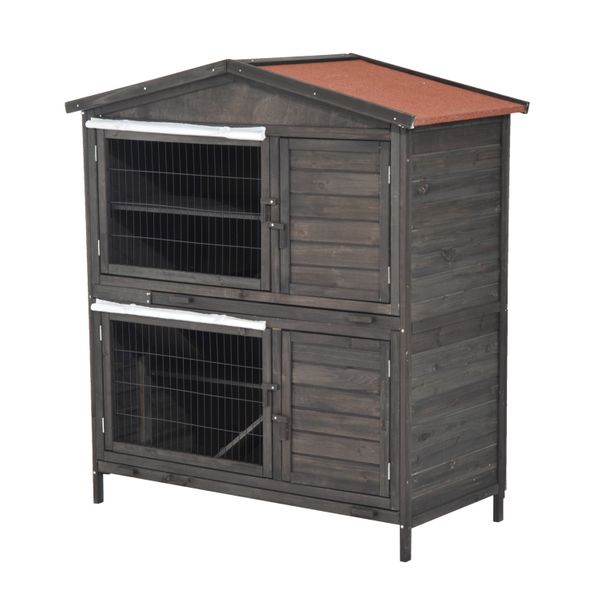 """PawHut 52"""" Fir Wooden Rabbit Hutch 2-Level Chicken Coop Small Animal Cage House   Aosom"""