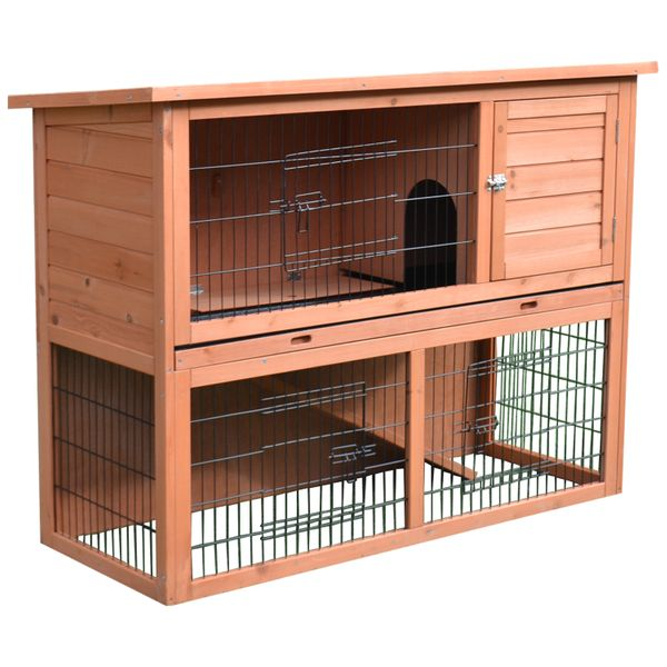 "Pawhut 54"" Wooden Rabbit Hutch - 4 Doors w Ramp 54"" Compact multi-level outdoor rabbit hutch 