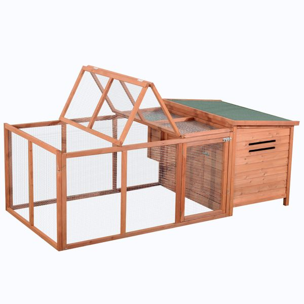 "Pawhut 87"" Deluxe Wooden Chicken Coop w/ Outdoor Run / with Backyard Run, 86.6"" Wood Poultry Compact backyard chicken coop