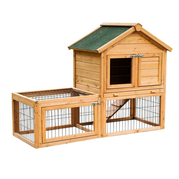 Pawhut Deluxe Rabbit Hutch w/ Outdoor Run / Wooden rabbit hutch with run|Aosom.com