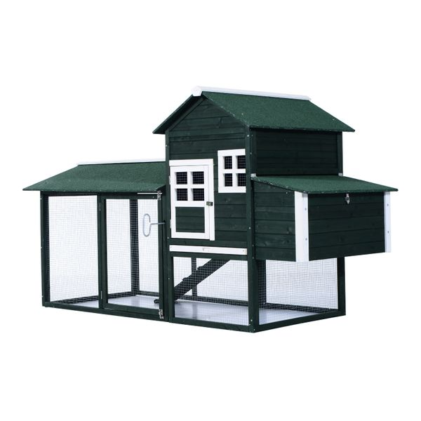 """PawHut 83"""" Wooden Outdoor Backyard Chicken Coop Fence Rabbit Bunny Hutch House with Covered Run and Nesting Box 