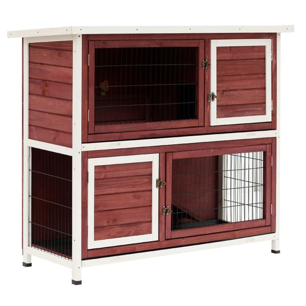 """PawHut 48"""" Enclosed Raised 2 Story Wooden Rabbit Playpen Hutch / with Run and Pull Out Tray / 2 story wooden rabbit hutch 