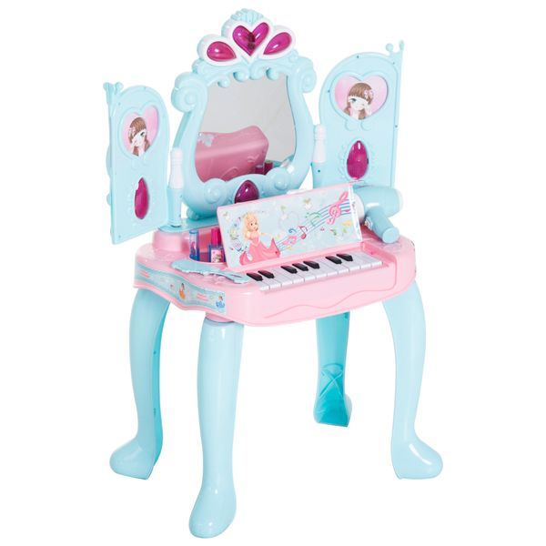 Qaba 2-in-1 Piano Vanity Table Princess Pretend Play Set with Lights Sounds and Accessories|AOSOM.COM
