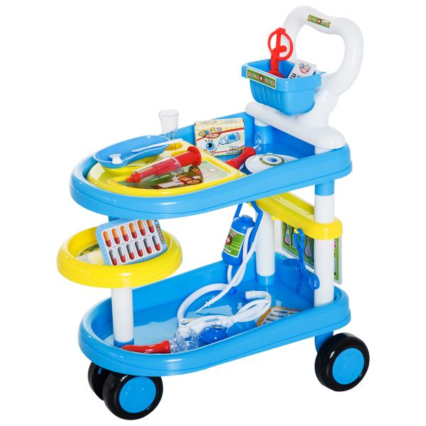 Qaba 37 Piece Doctor Kit Playset for Kids with Trolley and Medical Accessories|AOSOM.COM