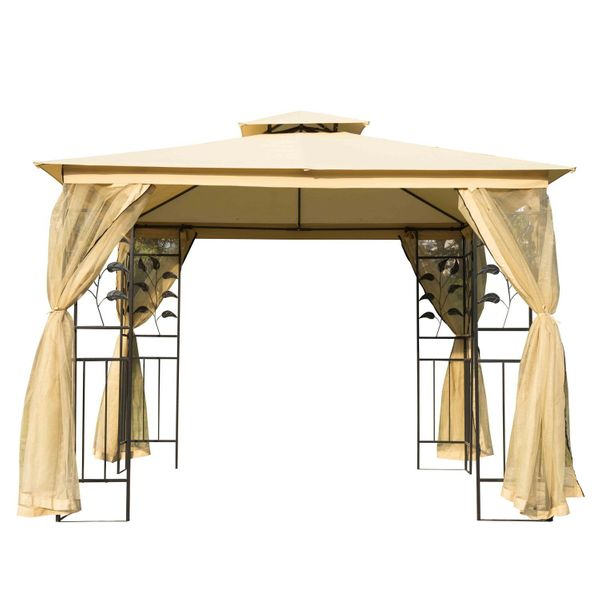 Outsunny 8.5' Steel Fabric Rectangle Outdoor Gazebo with Mesh Curtain Sidewalls - Beige | Aosom