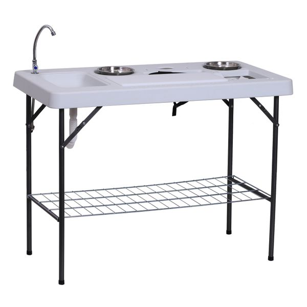 """Outsunny 50"""" L Folding Fish Fillet Table with Sink, Faucet, & Accessories 