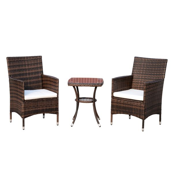 Outsunny 3 Piece Rattan Outdoor Cushioned Bistro Table and Chairs Set - Brown AOSOM.COM