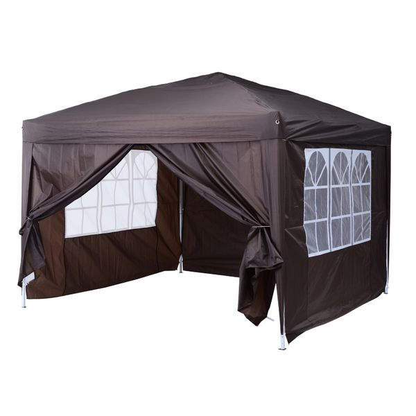 Outsunny 10' x 10' Pop Up Gazebo Canopy Party Tent with Sidewalls and Storage Bag | Aosom