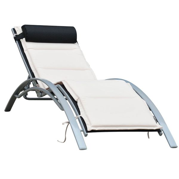 Outsunny Patio Reclining Chaise Lounge Chair with Cushion - Black and Cream White | Aosom
