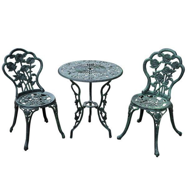 Outsunny 3pc Outdoor Cast Iron Bistro Set Table & Chair / 3-Piece cast iron antique patio furniture set Dining and Garden Green | Aosom