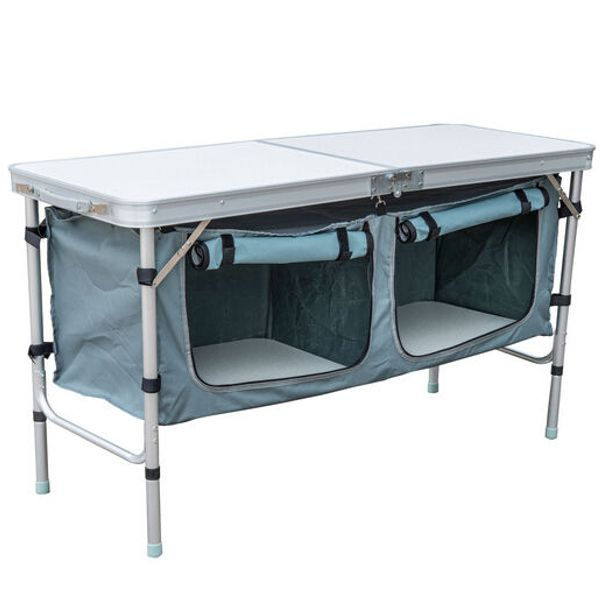 "Outsunny 47"" Aluminum Camping Folding Camp Table w/ Carrying Handle and Storage Organizer"