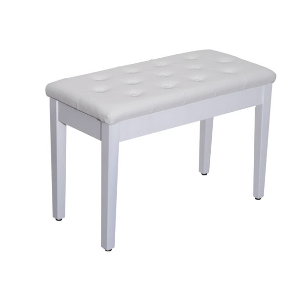 "HomCom 29"" Wooden Duet Padded Piano Bench with Storage - White 