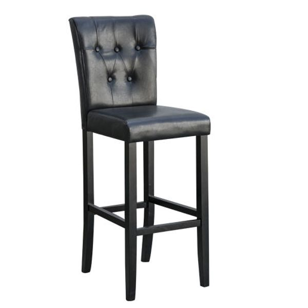 HomCom Bar Height Modern Faux Leather Tall Dining Seat Tufted Buttons Wooden Leg | Aosom