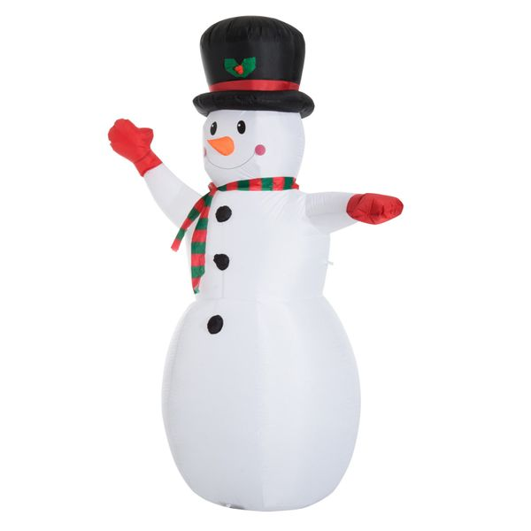 HomCom 8 Foot Tall Lighted Christmas Inflatable Snowman Holiday Outdoor Lawn Decoration | Aosom
