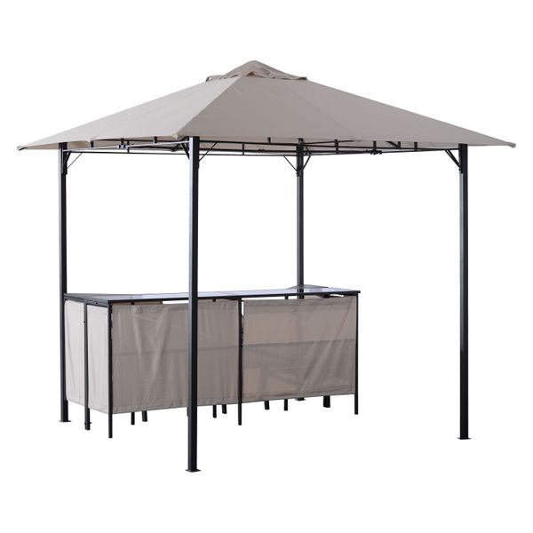 Outsunny 8ᄀᆵ x 3 Piece Outdoor Furniture Covered Gazebo Patio Bar Set / patio bar with gazebo w/ Barstools | Aosom
