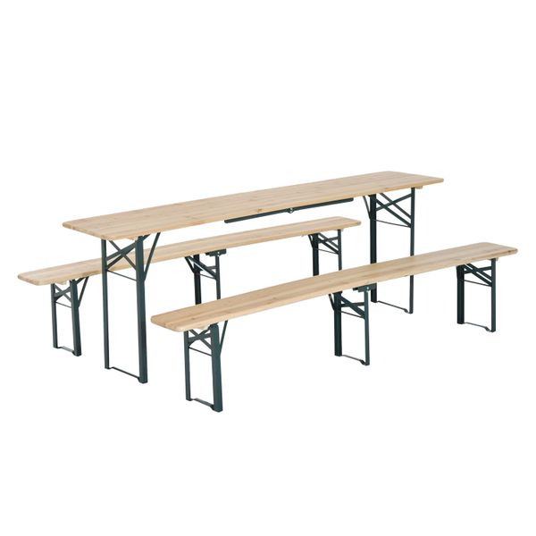 Outsunny 7' Wooden Outdoor Folding Patio Camping Picnic Table Set with Bench folding picnic table set | Aosom