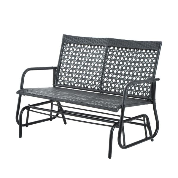 Outsunny Wicker Glider Bench Chair Outdoor Patio Armchair 2 Seater High Back | Aosom