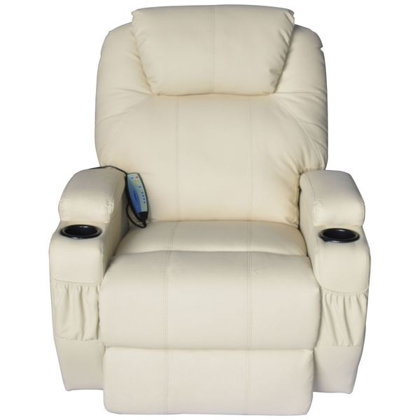 Leather Massage Chair Electric Vibrating | Aosom US / Homcom Luxury Faux Heated Recliner with Remote - Cream White Comfortable Vibrating Massage Recliner | Aosom