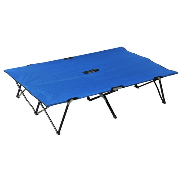 "Outsunny 76"" Two Person Double Wide Folding Camping Cot - Blue  two person camping cot