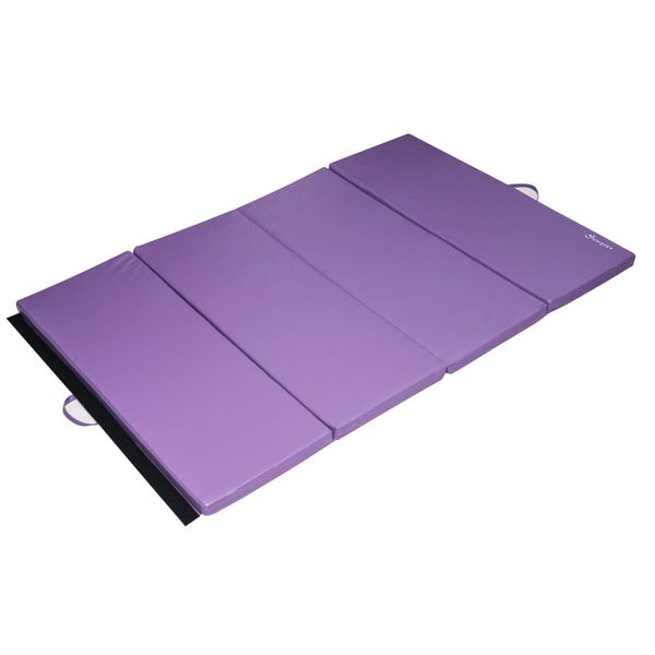 "Soozier 4' x 8' x 2"" PU Leather Folding Gymnastics Tumbling / Martial Arts Mat with Handles