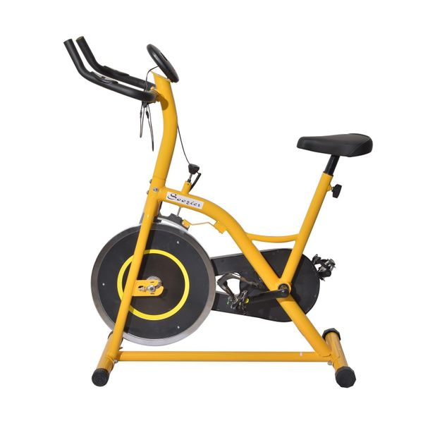 Soozier Upright Stationary Exercise Cycling Bike w/ LCD Monitor - Yellow and Black / Indoor Cardio stationary exercise bike w/LCD | Aosom