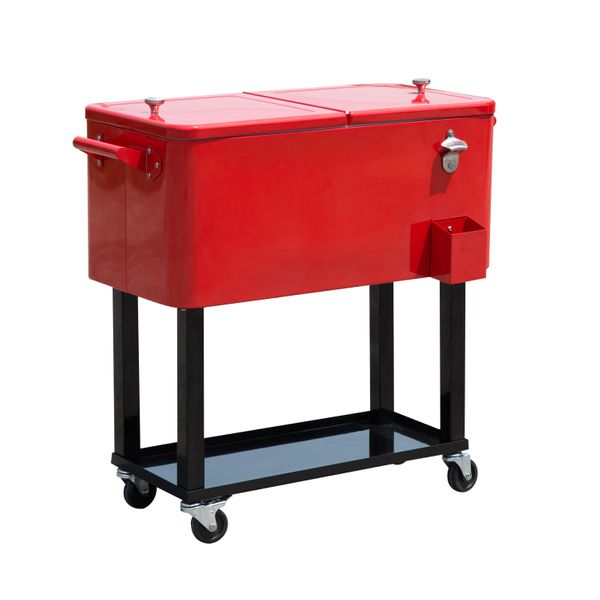 Outsunny 80 QT Rolling Ice Chest Portable Patio Party Drink Cooler Cart - Red / Quart Stainless Steel with Bottle Opener, Catch Tray, and Drain Plug Outdoor rolling portable ice chest|Aosom.com